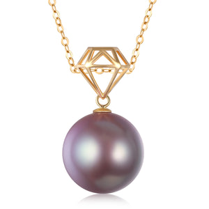 G18k Diamond Fantasy Plum Pearl Necklace - Timeless Pearl
