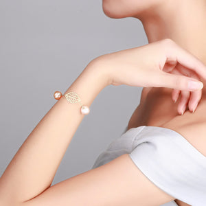 Golden Leaf Baroque Edison Pearl Necklace & Bracelet Set - Timeless Pearl