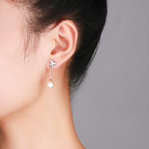 Tiny Butterfly Drop Earrings - Timeless Pearl