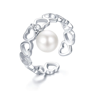PEARL HEARTS SILVER RING - Timeless Pearl