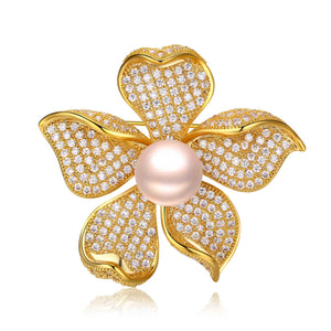 GOLDEN FLOWER QUEEN EDISON PEARL BROOCH - Timeless Pearl