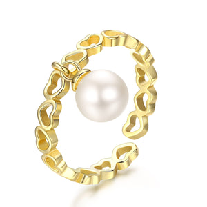 PEARL HEARTS GOLDEN RING - Timeless Pearl