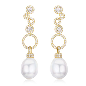 Golden Circles Edison Pearl Earrings - Timeless Pearl