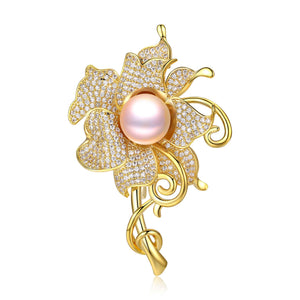 GOLDEN FLOWER EDISON PEARL BROOCH - Timeless Pearl