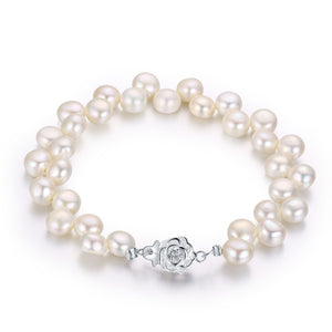 WHITE DANCING PEARL NECKLACE BRACELET SET - Timeless Pearl