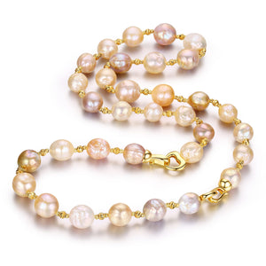 Golden Baroque Edison Pearl Necklace & Bracelet Set - Timeless Pearl