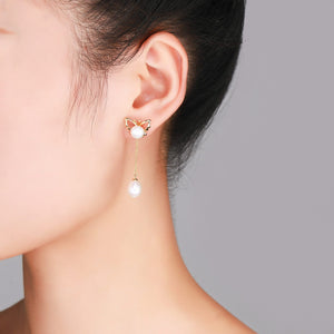 Golden Butterfly Pearl Earrings - Timeless Pearl