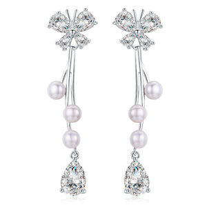Spring Butterfly Pearl Earrings Necklace Set - Timeless Pearl