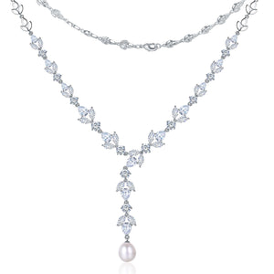 Crystal Leaves Pearl Necklace - Timeless Pearl