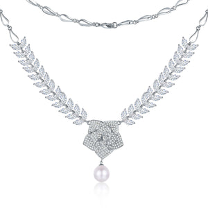Blooming Rose Elegant Pearl Necklace - Timeless Pearl