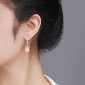 Peach Golden Edison Pearl Earrings - Timeless Pearl