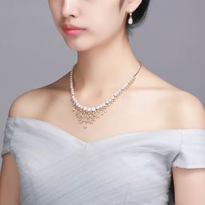 Frozen Queen Pearl Earrings Necklace Set - Timeless Pearl
