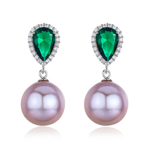 Green Crystal Elegant Pink Purple Edison Pearl Earrings - Timeless Pearl