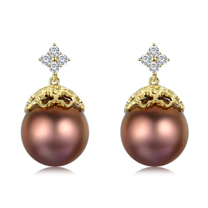 Golden Clover Bronze Edison Pearl Earrings - Timeless Pearl