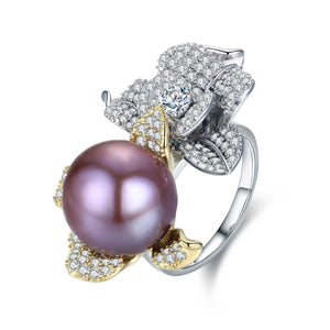 Purple Blooming Flower Pearl Ring - Timeless Pearl