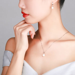 Simple Elegance Pearl Necklace & Earrings Set - Timeless Pearl
