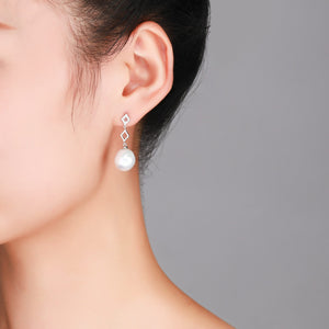 Diamond Drop Edison Pearl Earrings - Timeless Pearl