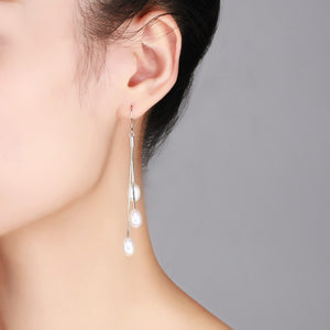 White Drop Earrings - Timeless Pearl