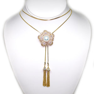 Golden Flower of Life Adjustable Edison Pearl Tassel Necklace - Timeless Pearl