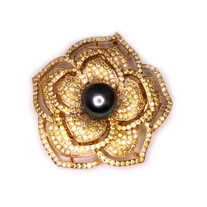 Golden Flower of Life Black Edison Pearl Brooch - Timeless Pearl