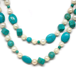 Turquoise & Pearl Necklace - Timeless Pearl