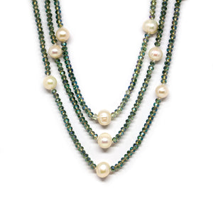 Glitter Green Crystal Pearl Necklace - Timeless Pearl