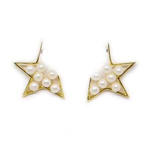 Golden Star Pearl Earrings - Timeless Pearl