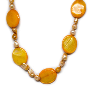 Orange Shell & Pearl Necklace - Timeless Pearl
