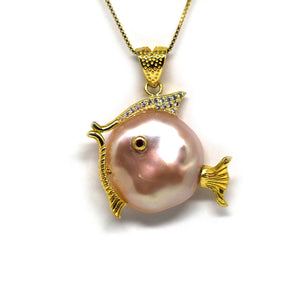 Pink Pearl Fish Necklace - Timeless Pearl