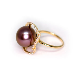 Mystery Purple Flower Edison Pearl Ring - Timeless Pearl