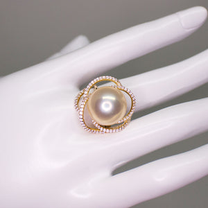 Champagne Flower Edison Pearl Ring - Timeless Pearl