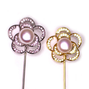 Glittering Blooming Rose Pearl Pin - Timeless Pearl