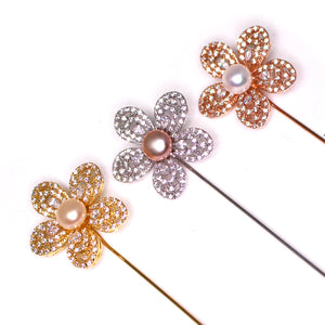Glittering Flower Pearl Pin - Timeless Pearl