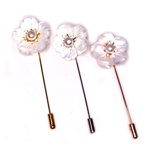 White Cherry Blossom Pearl Pin - Timeless Pearl