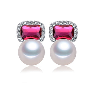 Pink Blue Lady Pearl Earrings - Timeless Pearl