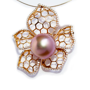 Blooming Rose Diamond Edison Pearl Brooch/Pendant - Timeless Pearl