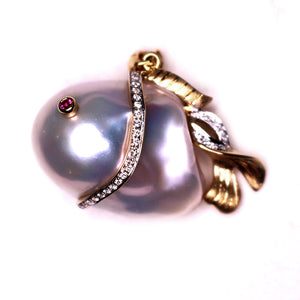GOLDEN LUCKY FISH Edison PEARL Necklace - Timeless Pearl