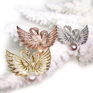 Swans In Love Pearl Brooch - Timeless Pearl