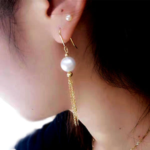 Golden Tassel Pearl Earrings - Timeless Pearl