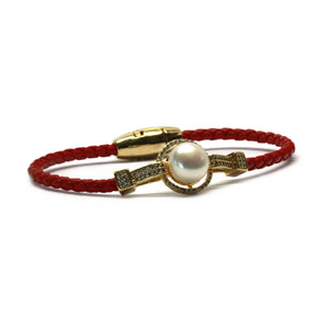 Red and Gold Braided Leather Pearl Bangle Bracelet - Timeless Pearl