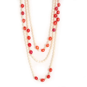 Elegant Red Pearl Necklace - Timeless Pearl