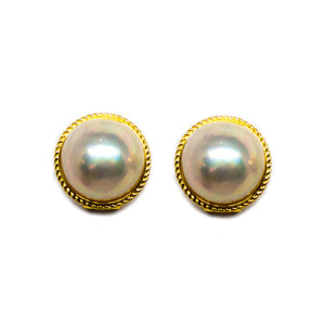 Golden Mabe Pearl Earrings - Timeless Pearl