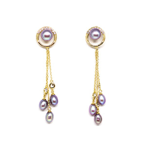 Purple Tears Pearl Earrings - Timeless Pearl