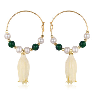 Flower Drop Pearl Earrings - Timeless Pearl