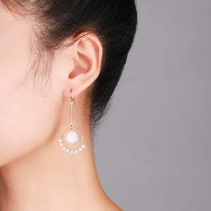 Circle of Jade Flower Pearl Earrings - Timeless Pearl