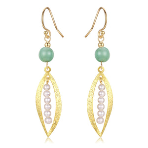 Green Jade Drop Pearl Earrings - Timeless Pearl