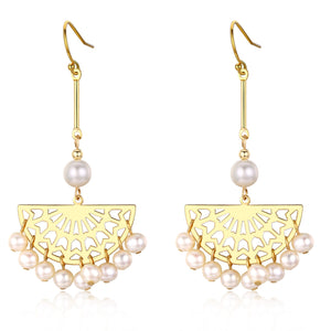 Carved Golden Fan Drop Pearl Earrings - Timeless Pearl