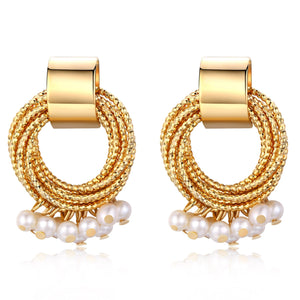 Gold Twist Drop Pearl Earrings - Timeless Pearl