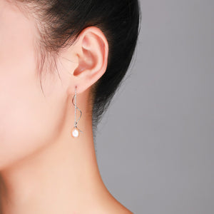 Elegant Pearl Wave Drop Earrings - Timeless Pearl