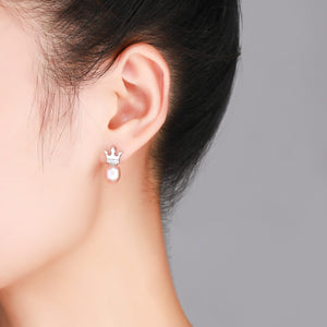 Simple Crown Pearl Earrings - Timeless Pearl